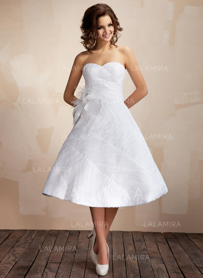 Ball-Gown Knee-Length Wedding Dresses With Ruffle Feather Flower(s ...