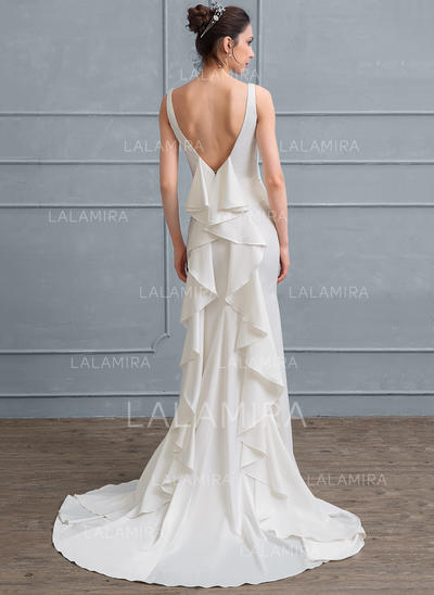 Sheath/Column Square Neckline Court Train Satin Wedding Dress With Cascading Ruffles (002111946)