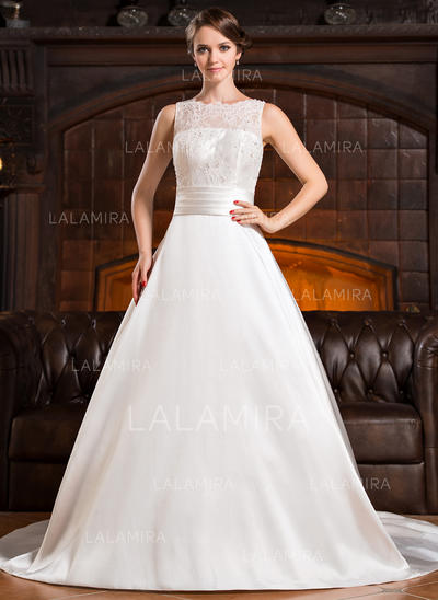 Scoop A-Line/Princess Wedding Dresses Satin Lace Ruffle Beading Sequins Bow(s) Sleeveless Chapel Train (002056219)