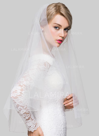 Elbow Bridal Veils Tulle Two-tier Classic With Beaded Edge Wedding Veils (006151826)