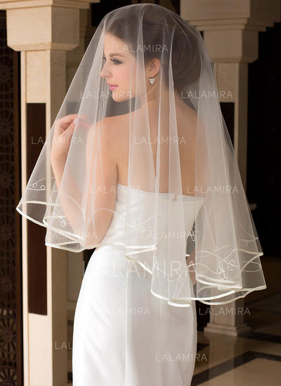 Fingertip Bridal Veils Tulle One-tier Classic With Ribbon Edge Wedding Veils (006151495)