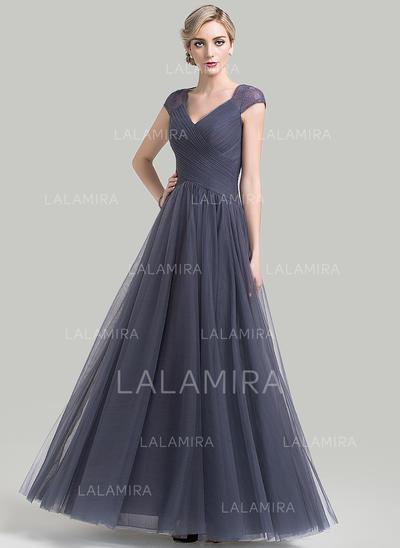 Corte A/Princesa Tul Sin mangas Escote en V Hasta el suelo Cremallera Vestidos de madrina (008085285)