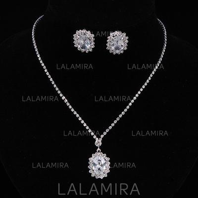 Jewelry Sets Alloy/Rhinestones/Zircon Lobster Clasp Pierced Ladies' Wedding & Party Jewelry (011167171)