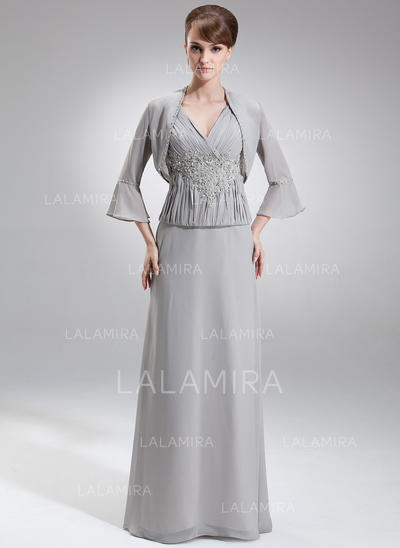 Simple Chiffon V-neck A-Line/Princess Mother of the Bride Dresses (008006214)