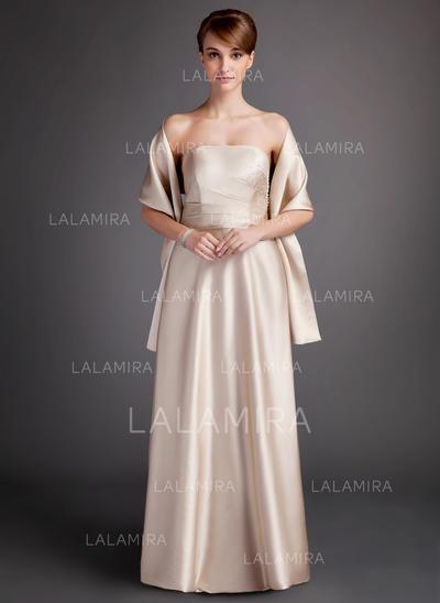 A-Line/Princess Floor-Length Charmeuse General Plus Bridesmaid Dresses (007000902)