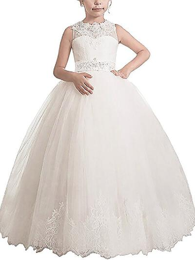 Scoop Neck Ball Gown Flower Girl Dresses Tulle Sash/Appliques Sleeveless Floor-length (010211765)