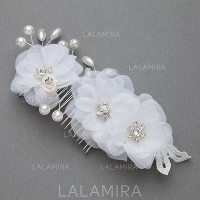 "Combs & Barrettes Wedding/Special Occasion/Party Imitation Pearls/Artificial Silk 6.89""(Approx.17.5cm) 2.95""(Approx.7.5cm) Headpieces (042154264)"