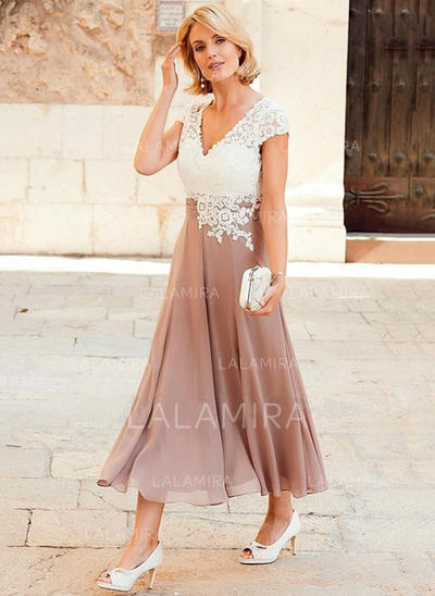 A-Line/Princess Chiffon Lace Short Sleeves V-neck Tea-Length Zipper Up at Side Mother of the Bride Dresses (008146292)