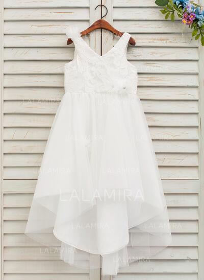 Forme Princesse Asymétrique Robes à Fleurs pour Filles - Tulle/Dentelle Sans manches Col V avec Fleur(s) (010146209)
