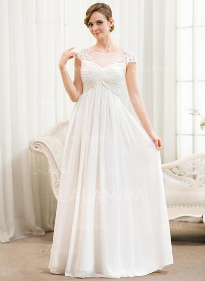 A-Line Illusion Floor-Length Chiffon Wedding Dress With Ruffle Appliques Lace (002052777)