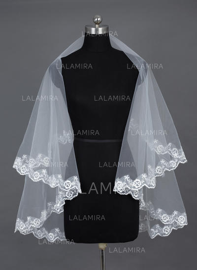 Fingertip Bridal Veils Tulle One-tier Oval With Lace Applique Edge Wedding Veils (006151533)