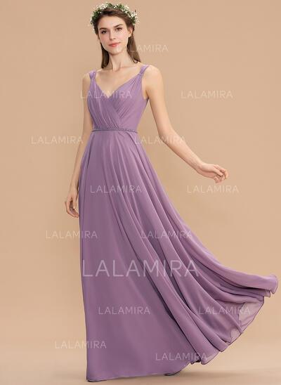 Corte A Decote V Longos Tecido de seda Vestido de madrinha com Pregueado (007176747)