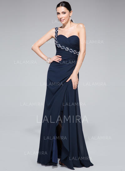 065da852274e Sheath/Column Chiffon Prom Dresses Ruffle Beading Split Front One-Shoulder  Sleeveless Floor-