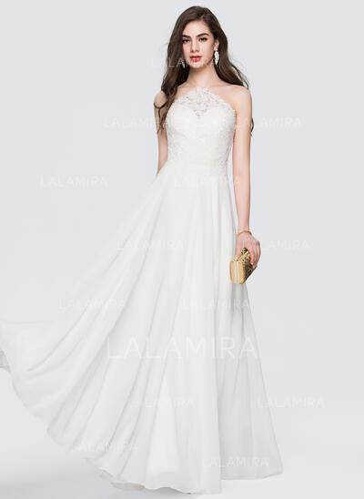 A-Line/Princess Scoop Neck Floor-Length Chiffon Evening Dress (017164976)