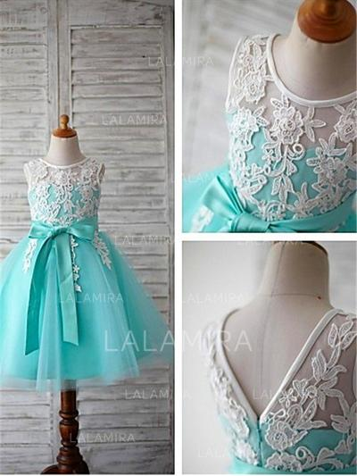 Scoop Neck Ball Gown Flower Girl Dresses Tulle Sash/Appliques/Bow(s) Sleeveless Tea-length (010211740)