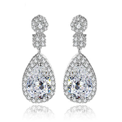 Earrings Copper/Zircon/Platinum Plated Pierced Ladies' Shining Wedding & Party Jewelry (011166668)