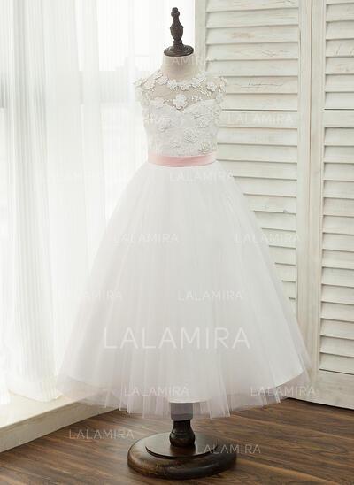 Vestidos princesa/ Formato A Comprimento médio Vestidos de Menina das Flores - Cetim/Tule/Renda Sem magas Decote redondo com Cintos (Faixa desmontável) (010153219)