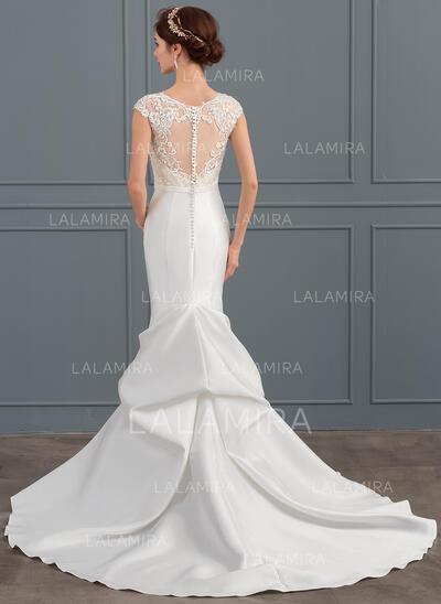 Forme Sirène/Trompette Illusion Traîne mi-longue Satiné Robe de mariée avec Brodé Paillettes (002127640)