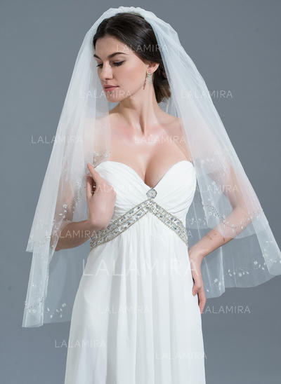Fingertip Bridal Veils Tulle Two-tier Classic With Cut Edge Wedding Veils (006152149)