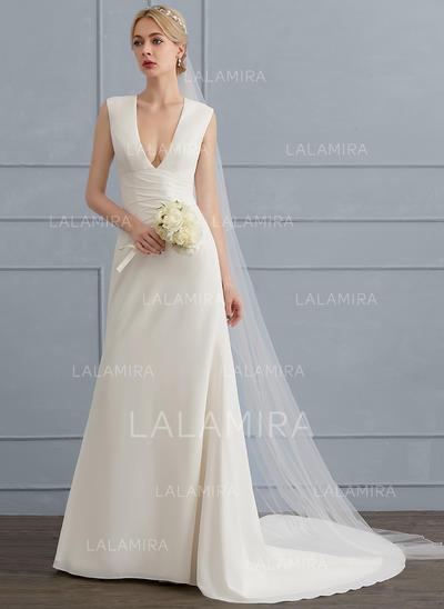 Plissé Forme Fourreau - Mousseline de soie Robes de mariée (002124270)