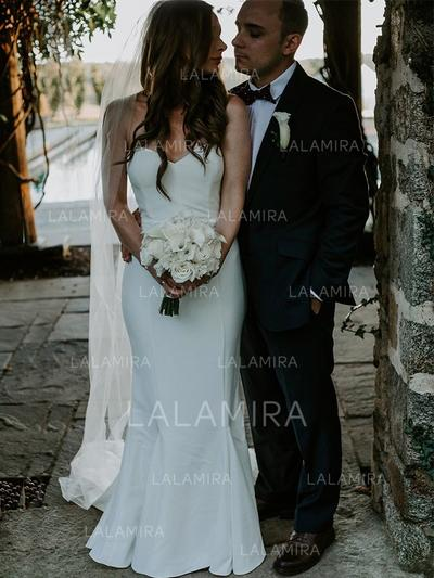 Sem Mangas Coração com Jersey Vestidos de noiva (002218057)