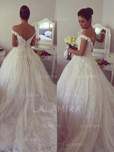 Court Train Ball-Gown Delicate Tulle Wedding Dresses (002210841)