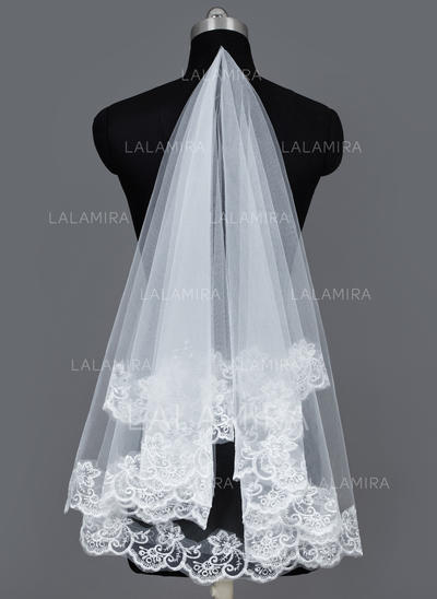 Waltz Bridal Veils Tulle One-tier Classic With Lace Applique Edge Wedding Veils (006151090)
