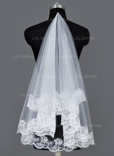 Velos de novia vals Tul Uno capa Estilo clásico con Con Aplicación de encaje Velos de novia (006034186)