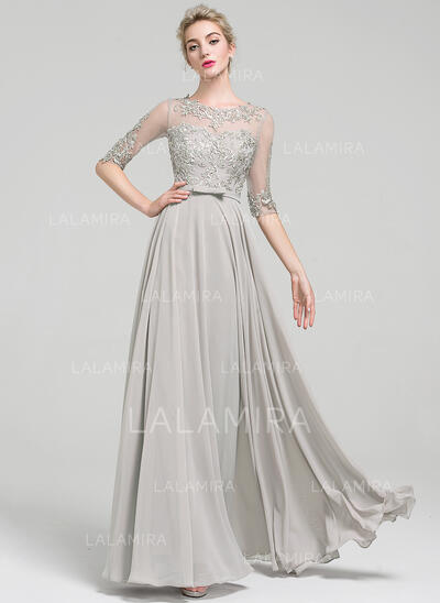 A-Line/Princess Scoop Neck Floor-Length Chiffon Prom Dresses With Beading Bow(s) (018112793)
