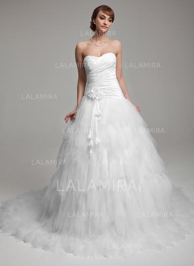 Ruffle Flower(s) Sleeveless Sweetheart Taffeta Tulle Ball-Gown Wedding Dresses (002196902)