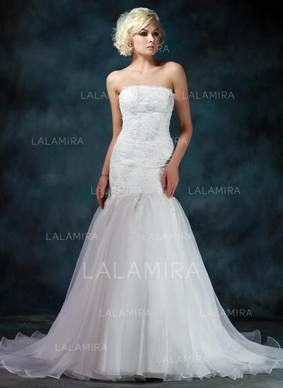 Trumpet/Mermaid Strapless Chapel Train Satin Organza Wedding Dress ...