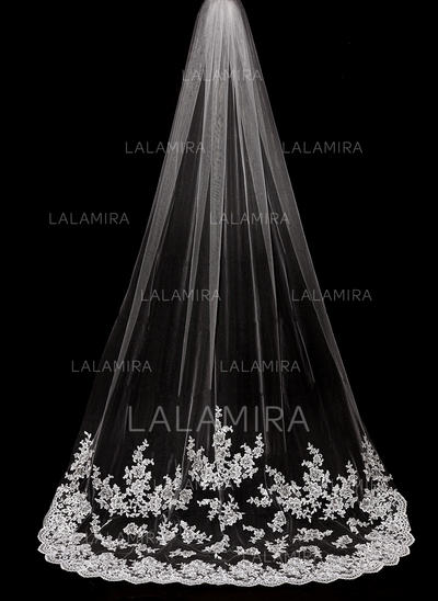 Cathedral Bridal Veils Tulle One-tier Drop Veil With Lace Applique Edge Wedding Veils (006151873)