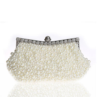 Clutches/Wristlets/Totes/Bridal Purse/Fashion Handbags/Makeup Bags/Luxury Clutches Wedding/Ceremony & Party/Casual & Shopping/Office & Career Pearl Snap Closure Elegant Clutches & Evening Bags (012187895)