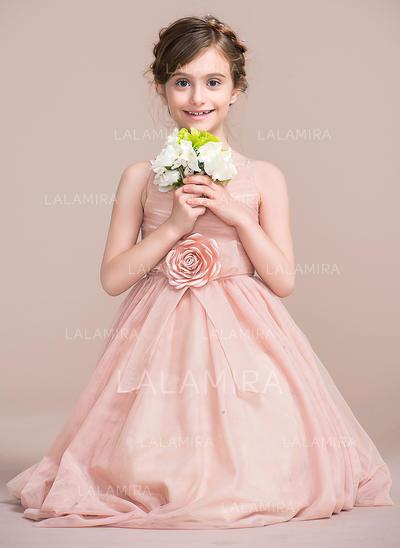 A-Line/Princess Tea-length Flower Girl Dress - Tulle Sleeveless Straps With Flower(s) (010106131)