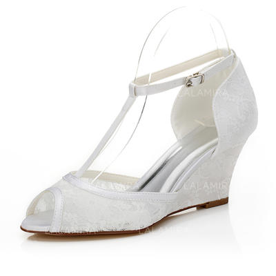 Women's Peep Toe Sandals Wedge Heel Lace Wedding Shoes (047205999)