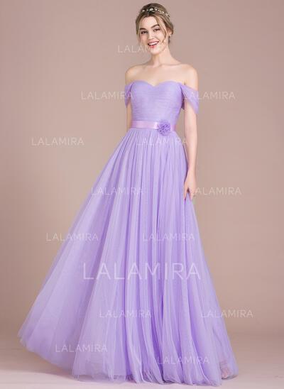 Vestidos princesa/ Formato A Off-the-ombro Longos Tule Vestido de baile com Pregueado fecho de correr (018116385)
