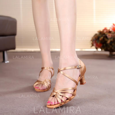 Women's Latin Heels Sandals Satin With Ankle Strap Dance Shoes (053179640)