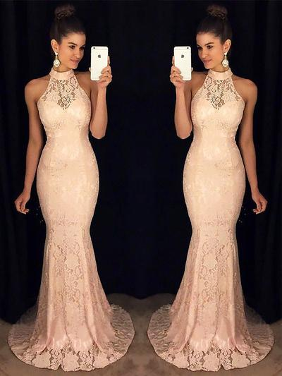 High Neck Trumpet/Mermaid Sleeveless With Lace Evening Dresses (017217172)