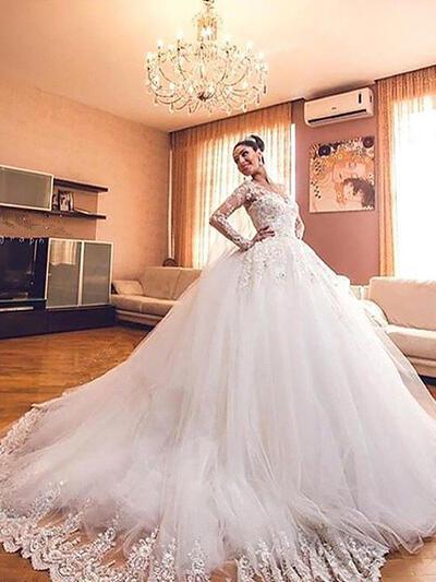 Elegant V Neck Ball Gown Wedding Dresses Court Train Tulle Long Sleeves 002210833