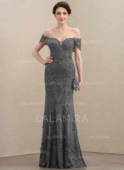 Trumpet/Mermaid Off-the-Shoulder Floor-Length Tulle Lace Evening Dress With Sequins (017211392)