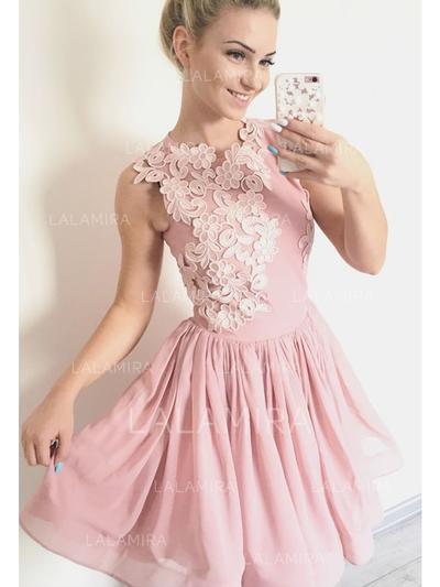 Sem magas Vestidos princesa/ Formato A Decote redondo com Tecido de seda Vestidos de cocktail (016218392)