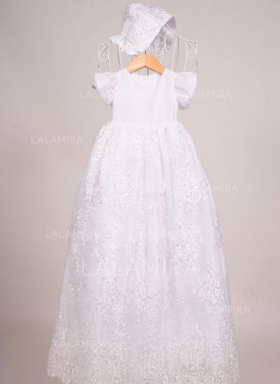 Satén Escote redondo Encaje Vestidos de bautizo para bebés con Manga corta (2001216836)