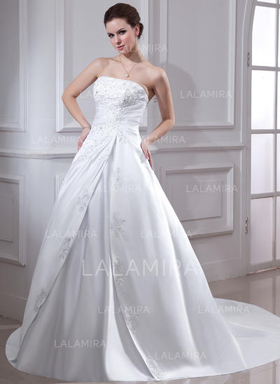 Elegant Satin Strapless Sleeveless Wedding Dresses (002001593)