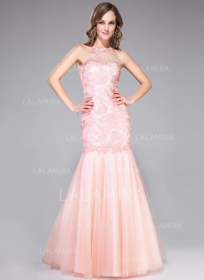 Stunning Trumpet/Mermaid Tulle Lace Floor-Length Sleeveless Prom Dresses (018046197)