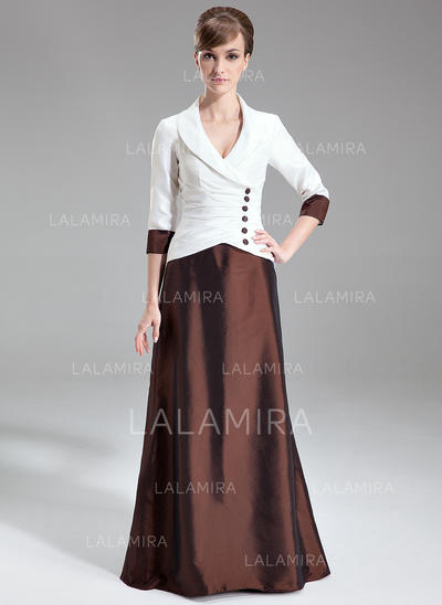 Forme Princesse Col V Taffeta Raffiné Robes mère de la mariée (008213108)