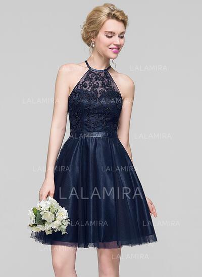 Corte A Decote redondo Coquetel Tule Vestido de madrinha com Beading lantejoulas (007090162)