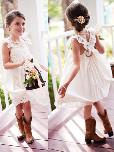 c74c14e70b9 Beautiful Square Neckline A-Line Princess Flower Girl Dresses Knee-length  Chiffon Sleeveless