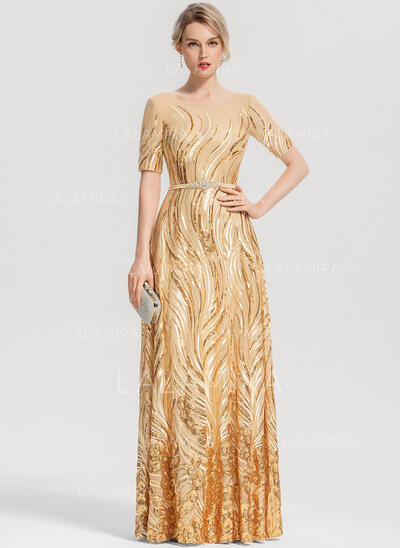 Scoop Neck Floor-Length Sequined Evening Dress