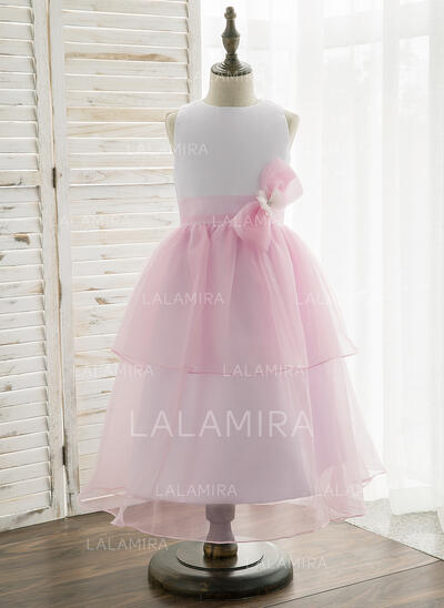 A-Line/Princess Tea-length Flower Girl Dress - Organza/Satin Sleeveless Scoop Neck With Bow(s) (010164729)