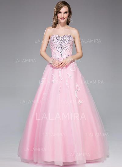 Tulle Sleeveless Floor-Length - Ball-Gown Prom Dresses (018109311)
